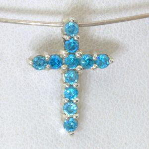 Pendant Swiss Blue Topaz Sterling Silver Christian Cross Dainty Unisex Design 69