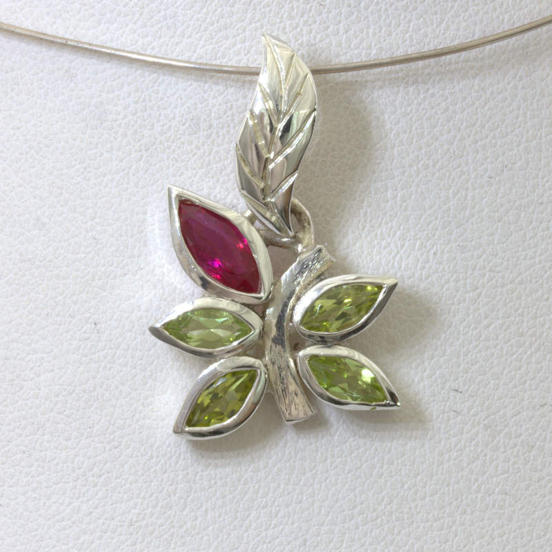 Pendant Red Ruby Green Peridot Handmade Sterling Floral Flower Dangle Design 234