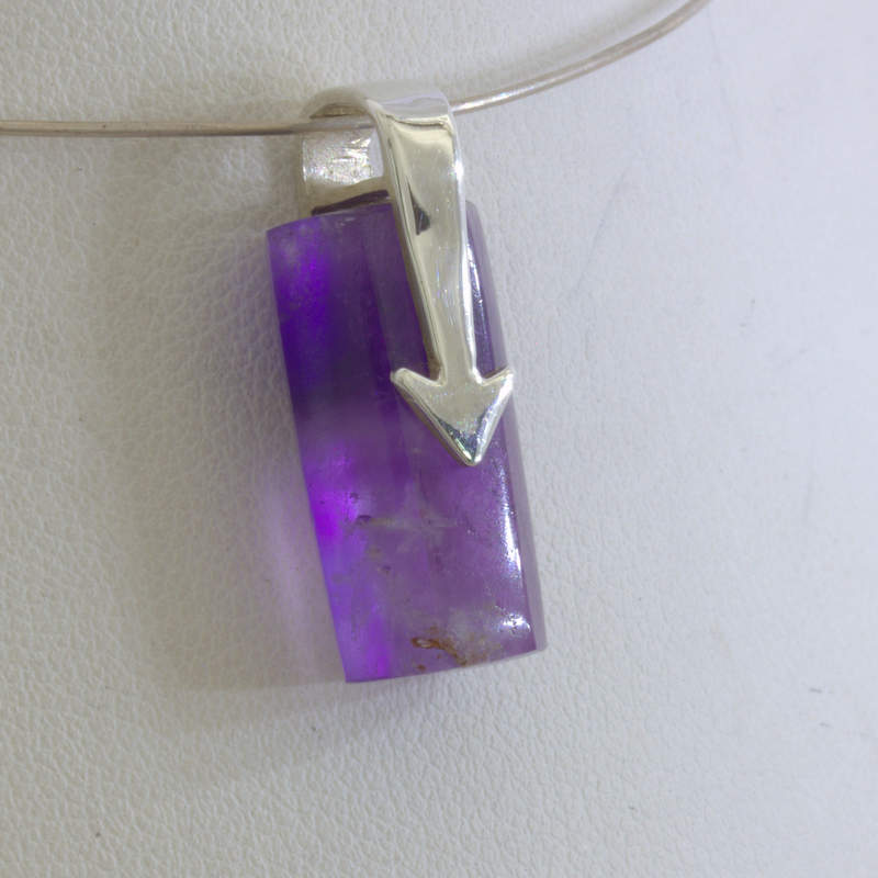 Pendant Purple Burma Amethyst Chevron Silver Unisex Dangle Crystal Design 260
