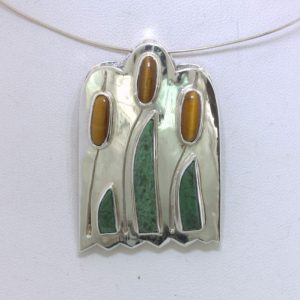 Pendant Cattails Brown Tigers Eye Green Mawsitsit Gems Silver Unisex Design 361