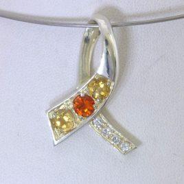 Pendant Orange Sapphire Yellow Citrine CZ 925 Ladies Awareness Ribbon Design 228