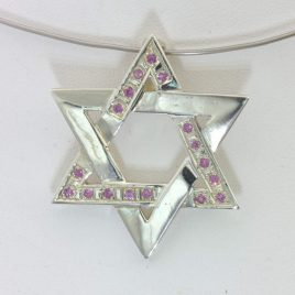 Pendant Pink Sapphire Six Point Star David Handmade 925 Silver Unisex Design 322