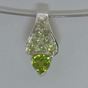 Pendant Burmese Yellow Green Peridot Handcrafted Silver Rigid Ladies Design 490