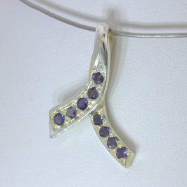 Pendant Blue Iolite Gems Handmade 925 Ladies Support Awareness Ribbon Design 492