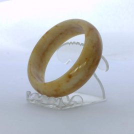 Bangle Burma Citrus Rust Color Chalcedony Quartz Stone Bracelet 7.5 inch 60.5 mm