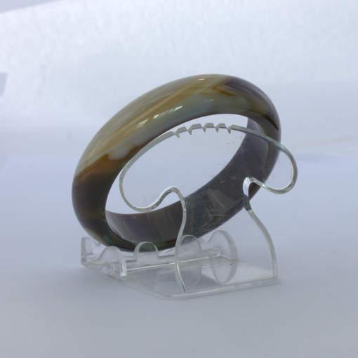 Bangle Quartz Banded Striped Agate Natural Stone Bracelet Comfort 7.2 inch 58 mm