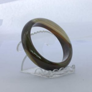 Bangle Quartz Banded Striped Agate Natural Stone Bracelet Comfort 7.2 inch 58 mm