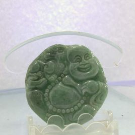 Jade Happy Buddha Laughing Burmese Jadeite Carving Natural A Grade Stone Pendant