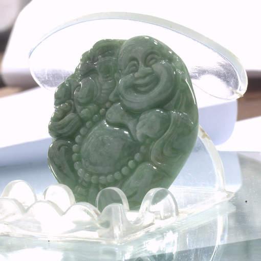 Jade Happy Buddha Laughing Burmese Jadeite Carving Natural A Grade Stone Pendant
