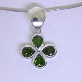 Pendant Green Chrome Diopside Silver Lucky Four Leaf Clover Unisex Design 231
