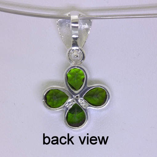 Pendant Green Chrome Diopside Silver Lucky Four Leaf Clover Unisex Design 231