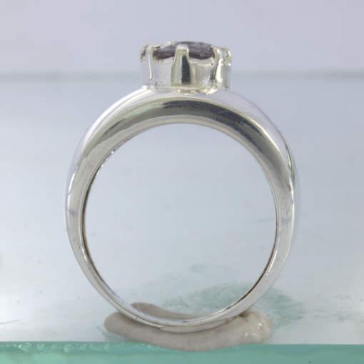 Ring Gray Burma Spinel Ceylon White Sapphire Silver Unisex size 10.25 Design 433