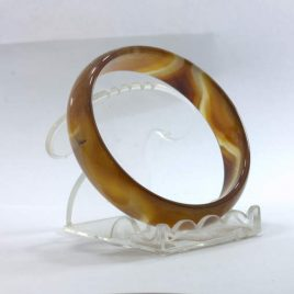Bangle Brown Banded Quartz Agate Striped Natural Stone Bracelet 7.4 inch 60 mm