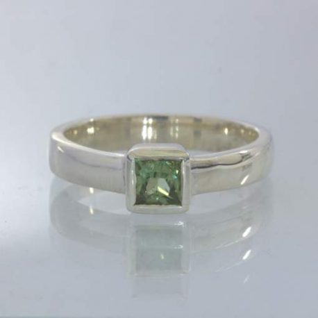 Ring Square Green Sapphire Handmade Stackable Silver Unisex size 5.5 Design 530