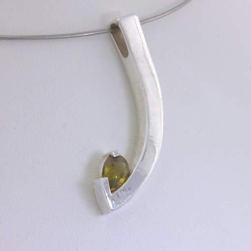 Pendant Sphene Pear Shape Gemstone Handcrafted Silver Unisex Curve Design 498