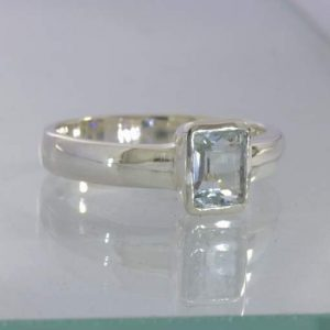 Ring Light Blue Aquamarine Handmade Silver Solitaire Ladies size 6 Design 530