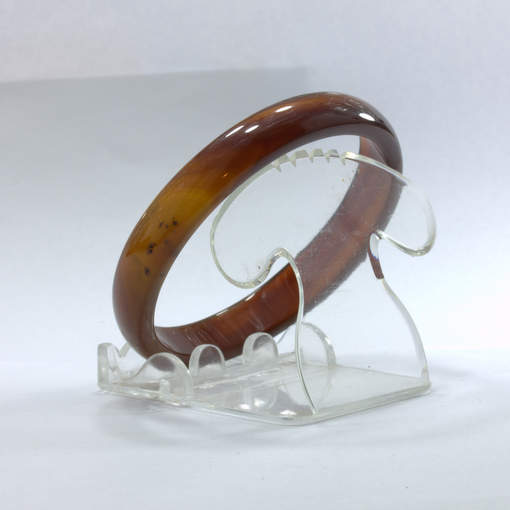 Bangle Brown Banded Quartz Agate Striped Natural Stone Bracelet 7.4 inch 60 mm
