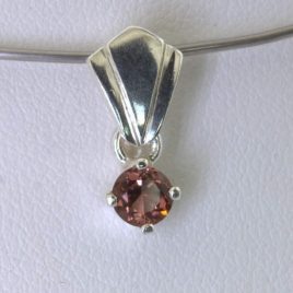 Pendant Rubellite Pink Tourmaline 4.5 mm Round Handmade Silver Dangle Design 471