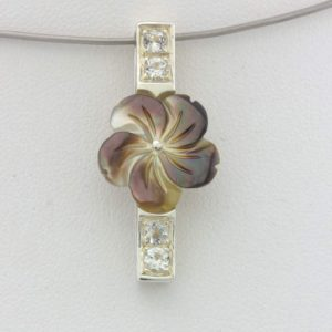 Pendant Abalone Flower Carving White Topaz Handcrafted 925 Silver Design 269