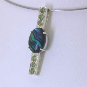 Pendant Abalone Rainbow Cabochon Green Sapphire Handcrafted Silver Design 551