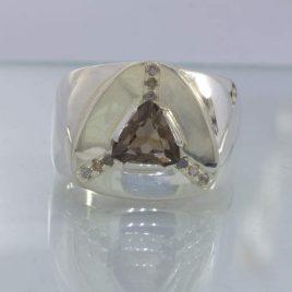 Ring Smoky Quartz Trillion Handmade Sterling Silver Ladies size 9.75 Design 386