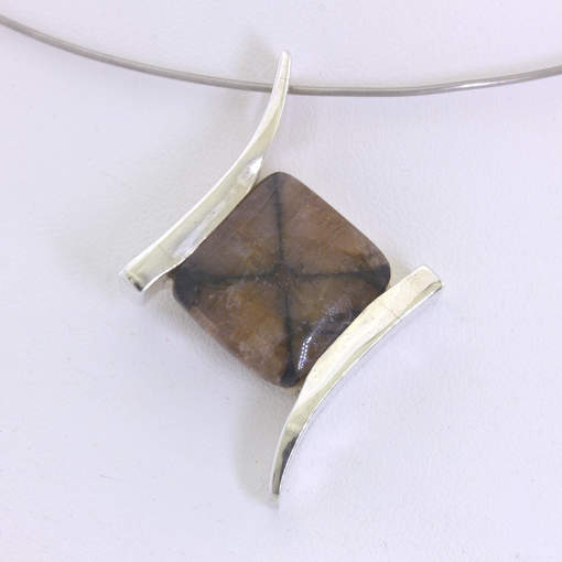 Pendant Chiastolite Cross Andalusite Square Cab Unisex Silver Flair Design 132