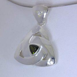 Pendant Green Tourmaline 925 Infinity Symbol Eternity Celtic Knot Design 470