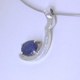 Pendant Faceted African Blue Sapphire Handcrafted Silver Unisex Curve Design 77