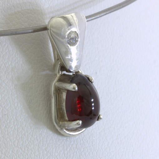 Pendant Red Garnet Pear Cabochon White Sapphire Silver Unisex Dangle Design 272