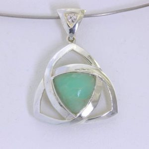 Pendant Blue Opalite Opal Silver Unisex Trillion Celtic Knot Infinity Design 360