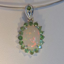 Pendant Welo Opal Tsavorite Green Garnet Halo Handmade Silver Dangle Design 147