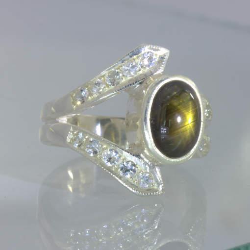 Ring Thai Black Star Sapphire White Sapphires Handmade 925 Size 7.5 Design 505