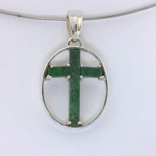 Pendant Christian Cross Green Mawsitsit Silver Framed Maw Sit Sit Design 336