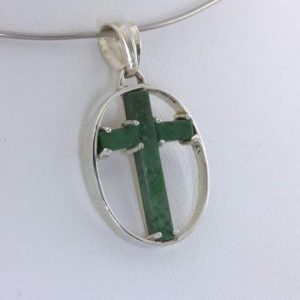 Pendant Christian Cross Green Mawsitsit Silver Framed Maw Sit Sit Design 336