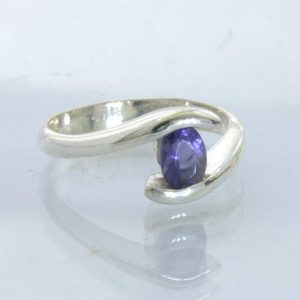 Ring Blue Violet Iolite Oval Handcrafted Silver size 7.5 Solitaire Design 419