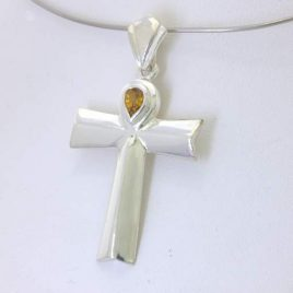 Pendant Ankh Cross Yellow Mali Garnet Pear Handmade 925 Unisex Ahnk Design 141