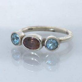 Ring Purple Spinel Blue Zircon Handmade Silver size 8.25 Three Stone Design 700