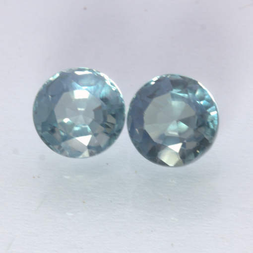 Color Change Sapphire Pair Lab Created Blue Pink Two 7mm Faceted Rounds 3.88 CTW