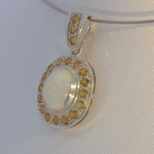 Pendant Welo Opal Yellow Citrine Halo Handcrafted Silver Ladies Dangle Design 62