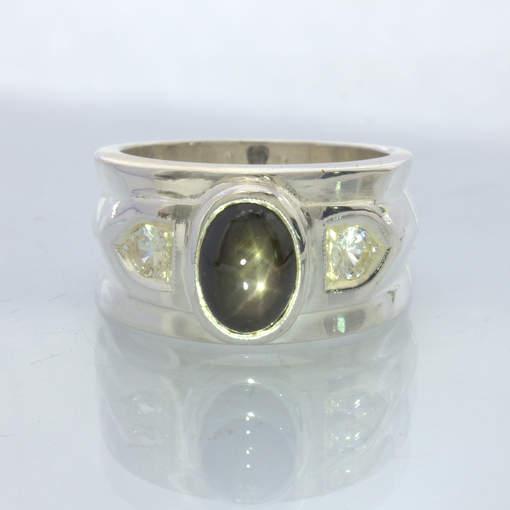 Ring Double Star Black Sapphire White Sapphires Handmade Silver Size 9 Design 26