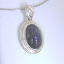 Pendant Labradorite Cabochon White Sapphire Handmade Silver Unisex Design 263