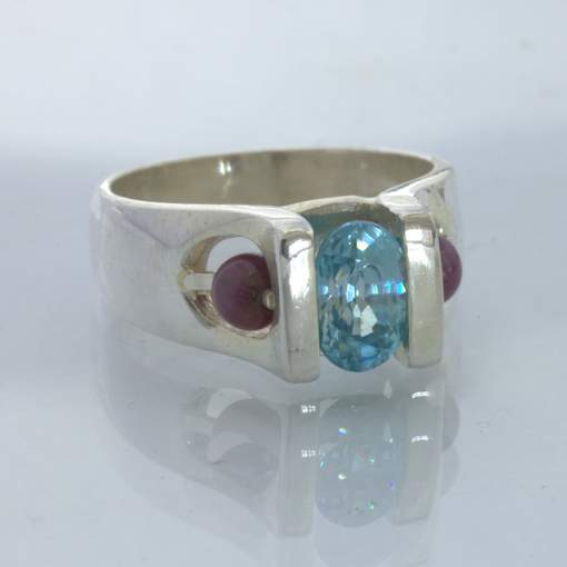 Ring Blue Zircon Ruby Beads Handcrafted Sterling Silver Size 7 Unisex Design 435
