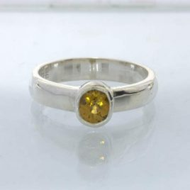 Ring Mali Garnet Yellow Grandite Silver size 5.5 Solitaire Stackable Design 530
