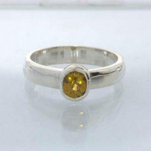 Ring Mali Garnet Yellow Grandite Silver size 5.5 Solitaire Stackable Design 530