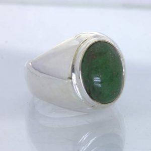 Ring Green Maw Sit Sit Cabochon Handmade Silver Mawsitsit size 9 Gents Design 52