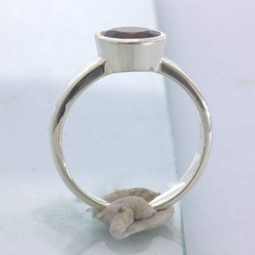 Ring Almandine Red Garnet Handmade Silver Unisex size 9.25 Stackable Design 530