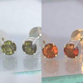 Earrings Color Change Garnet Gemstone Pair Post Ladies Studs Silver Design 609