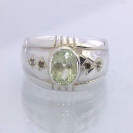 Ring Green Aquamarine Cognac Diamonds Handmade Silver Unisex size 10 Design 357