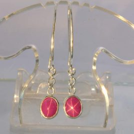 Earrings Pink Sapphire Floating Star Lab Oval Silver Pair Hook Dangle Design 290