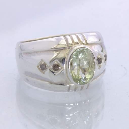 Ring Green Aquamarine Cognac Diamonds Handmade Silver Unisex size 10 Design 357